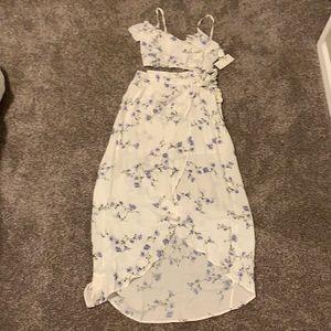 NWOT Tobi Floral Wrap Maxi Skirt & Cami Crop Top